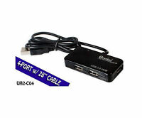4-port Usb 2.0 Mini Hub With 28in Cable, Black, Connectland Cl-hub20033, Uh2-c04