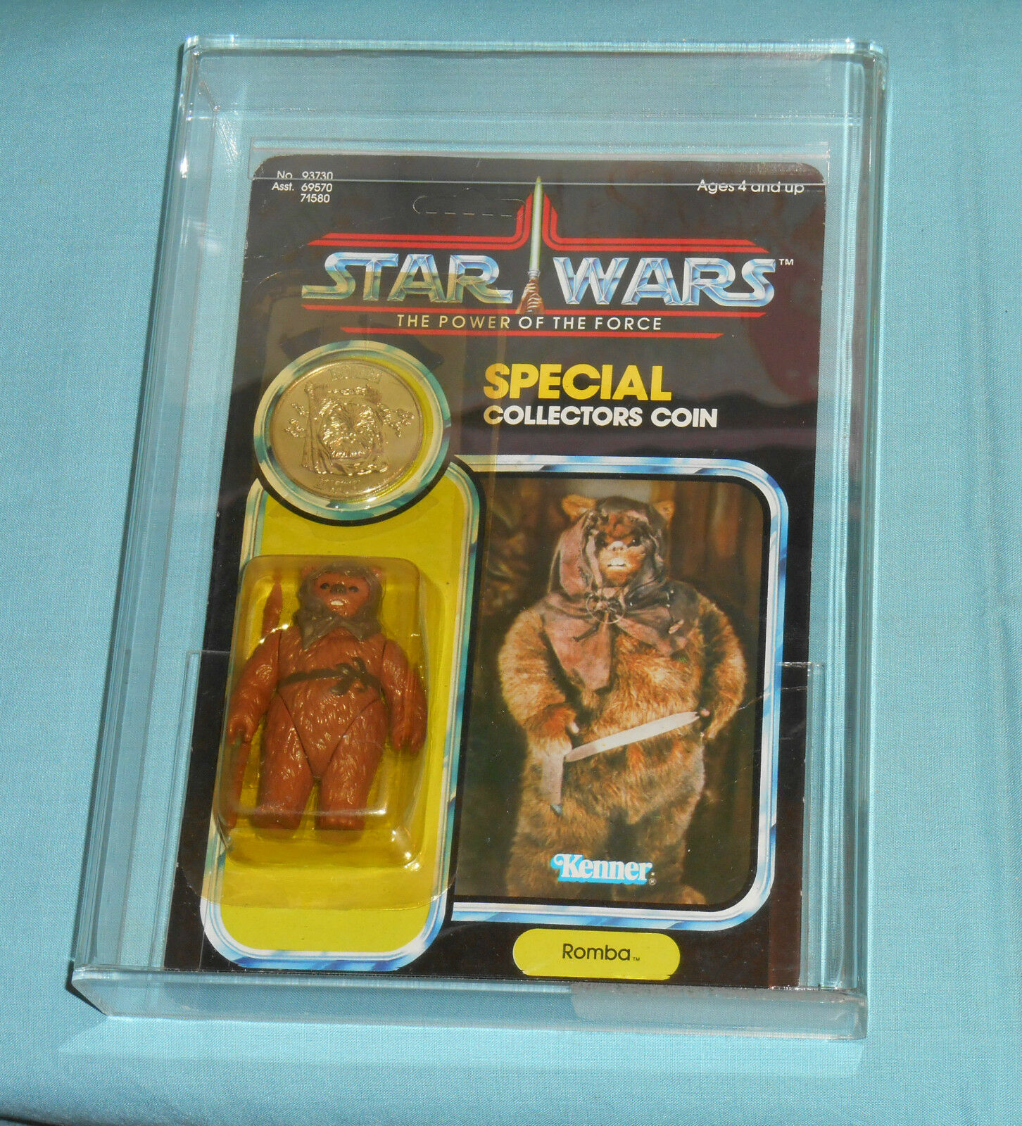 Vintage Star Wars Power of the Force romba Comme neuf on Card figurine Autorité 60Y Ewok