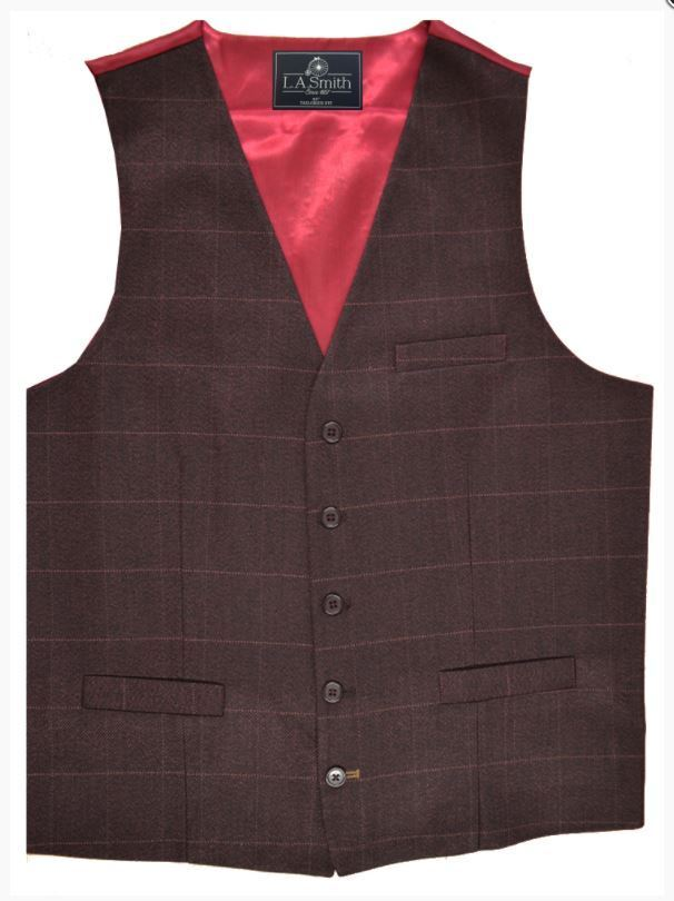 Wine Check Tweed Tailored Fit Waistcoat Style WW404 Sizes 36