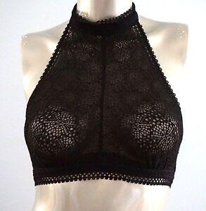 8d3e7f04924 Victorias Secret Nwt Black Crochet Lace High Neck Halter Bralette ...
