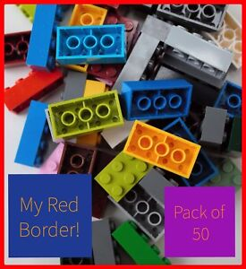 LEGO-2x4-BRICKS-3001-Pack-Of-50-Parts-Joblot-Red-Green-Yellow-Blue-White-Black