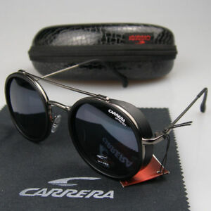 New-Men-Women-Retro-Sunglasses-Round-Windproof-Matte-Frame-Metal-Carrera-Glasses