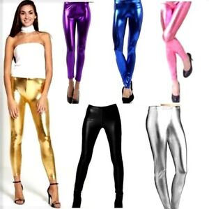 84132d5db0a8c Image is loading Women-039-s-Ladies-Stretch-Shiny-American-Metallic-