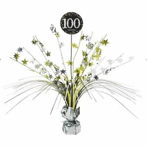 Image Is Loading 100th Birthday Spray Centrepiece Table Decoration Black Gold