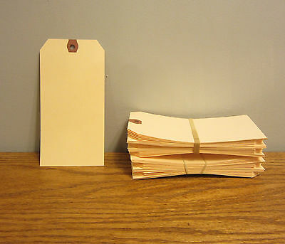 """100 AVERY DENNISON MANILLA #6 BLANK SHIPPING TAGS 5 1//4/"""" BY 2 5//8/"""" SCRAPBOOK"""