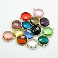 Wholesale Lot 50 Mixed Small Faceted Circular Glass Brass Wrapped Charm Pendants