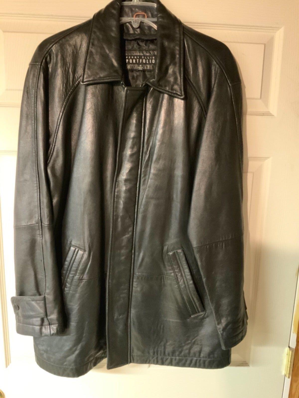 Perry Ellis Portfolio men's soft leather coat medium