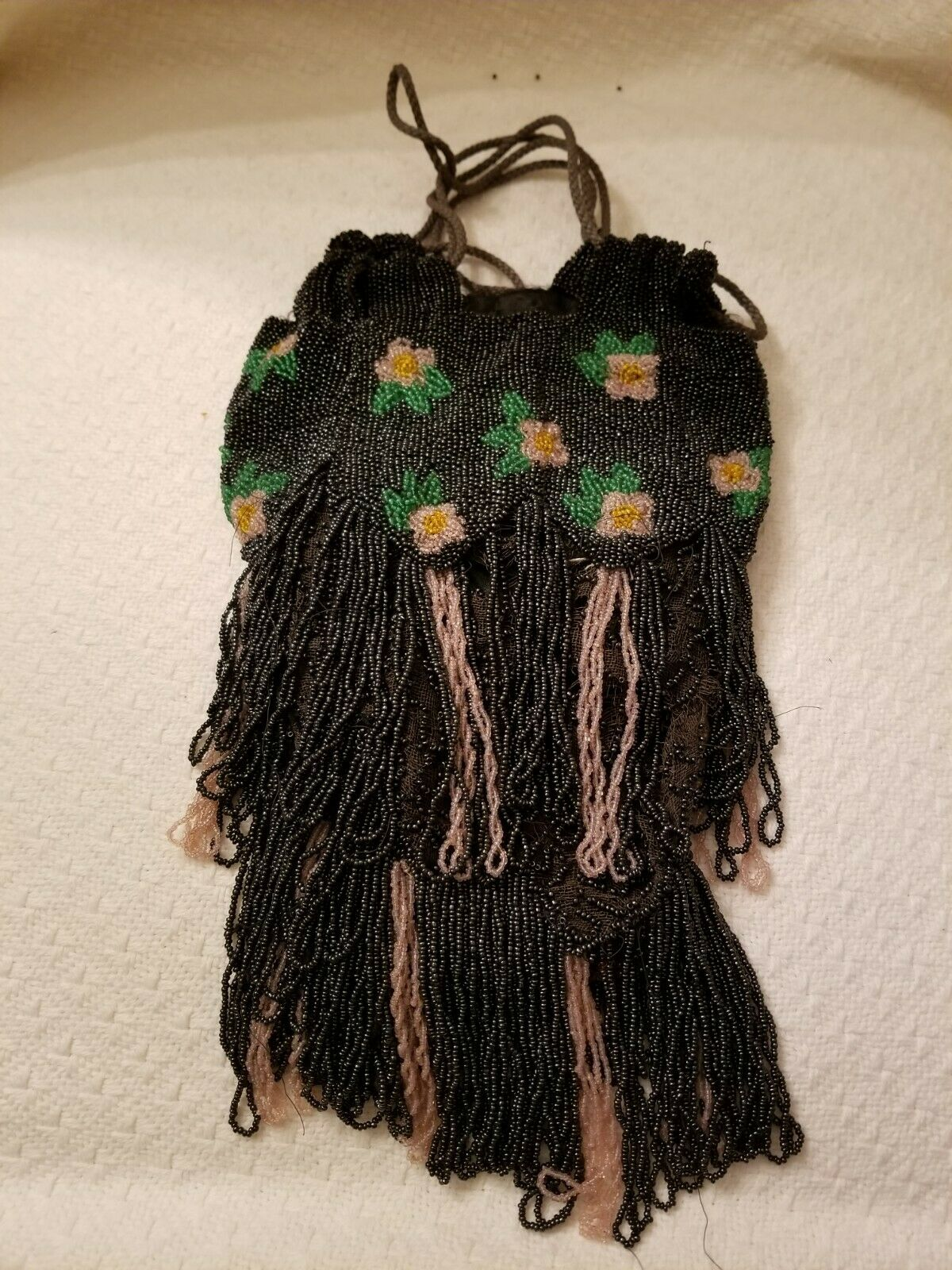 Antique Floral Beaded Flapper Purse w/ Drawn String Handle