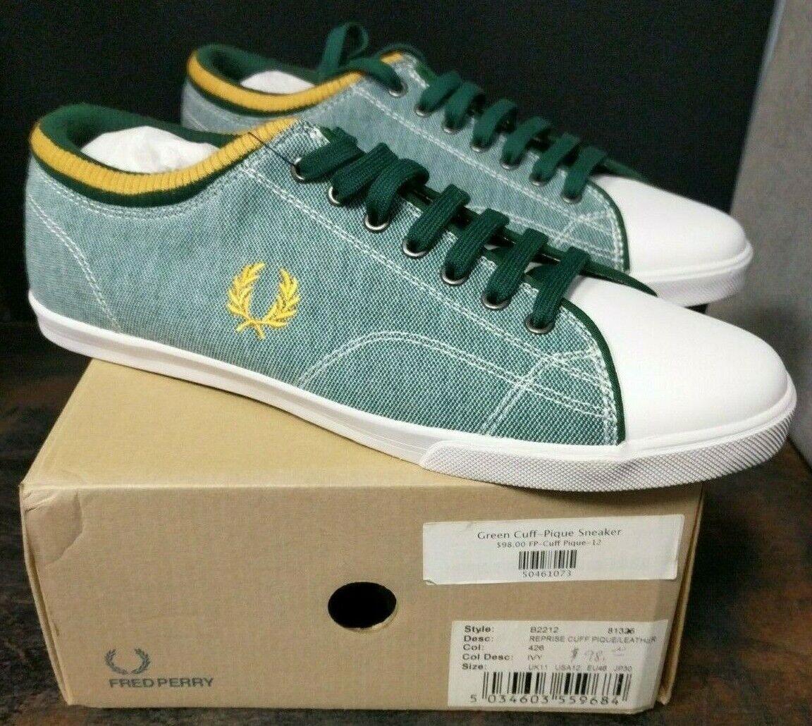 Brand New W Box Men's Frosso Perry verde Cuff Pique scarpe da ginnastica scarpe Sz 12