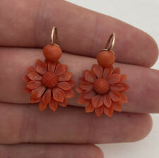 9ct Victorian Carved Natural Coral Flower Drop Earrings 9K 375.