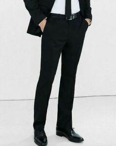 Excelente Para Hombre Express Negro Moderno Productor De Sarga De Mezcla De Algodon Pantalones De Vestir 30 X 30 Ebay