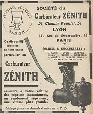 Z9528 Carburateur ZENITH -  Pubblicità d'epoca - 1922 Old advertising