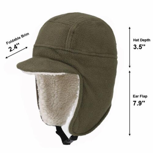 Winter Fleece Trapper Hunting Hat with Visor Windproof Warm Russian Earflap Caps