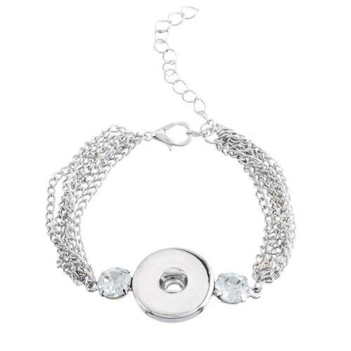 5 Armband Armbänder Wechselschmuck für Druckknopf Silberfarbe 21cm LP