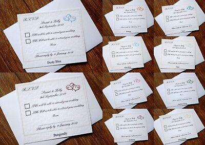 Bene Matrimonio Personalizzati Rsvp Biglietti E Buste * 11 Colori *-