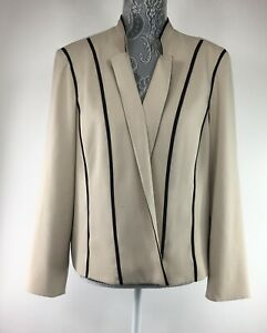 Chicos-Womens-3-Petite-Tan-Beige-Black-Trim-Blazer-Open-Front-Jacket