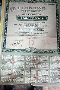 Titre La Confiance Action De 1000 Francs 1934 N°33228 Rkxuwb4u-08000439-642585271
