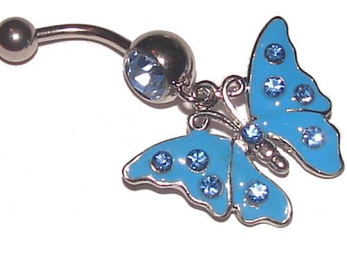 Navel Belly Bar Pretty Blue Butterfly Blue Crystals