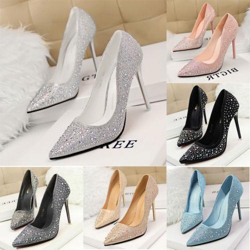 Women High Heels New Rhinestone Pointed Toe Stilettos Pumps Wedding Bridal Shoes