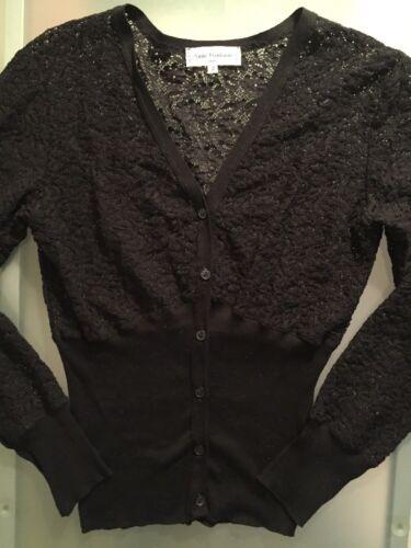 Anne Fontaine Lace Black Button Down Cardigan Sz.