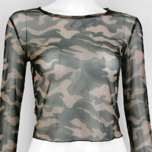 Mesh Crop T-shirt camouflage Printed Long Sleeve O Neck Crop T-Shirt 2Color