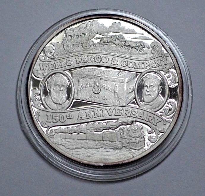 Wells Fargo 150th Ann 1852 2002 1 Troy Oz 999 Silver