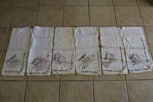 Vintage Tea Towels Lot of 6 Cats Days of the Weeks Kitties Embroidery Feline