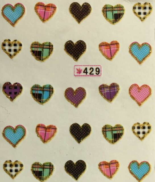Nail Art Water Decals Hearts SY429