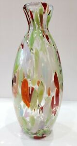 Two-039-s-Company-15-034-Tall-Hand-Blown-Clear-Art-Glass-Vase-Green-Cream-Orange-Brown