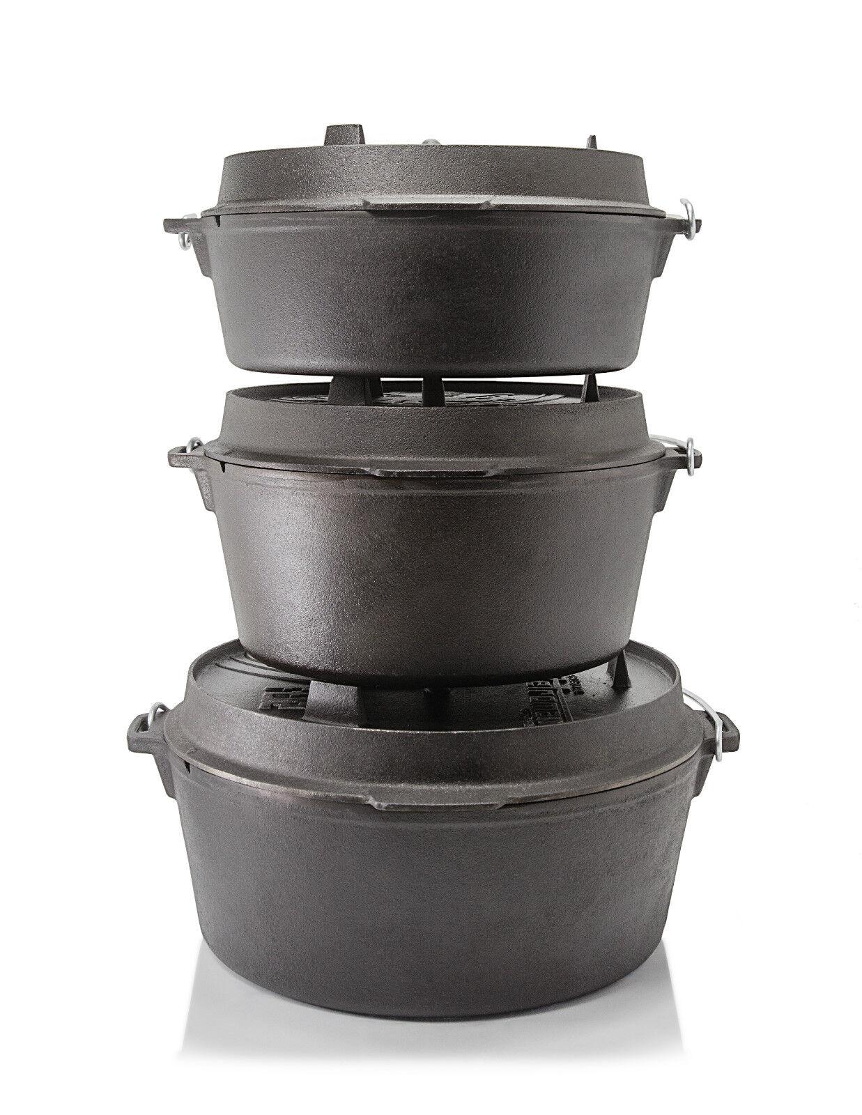 Petromax fuego olla Dutch Oven hierro fundido olla - 2,3 - 14,7 litros sin pies
