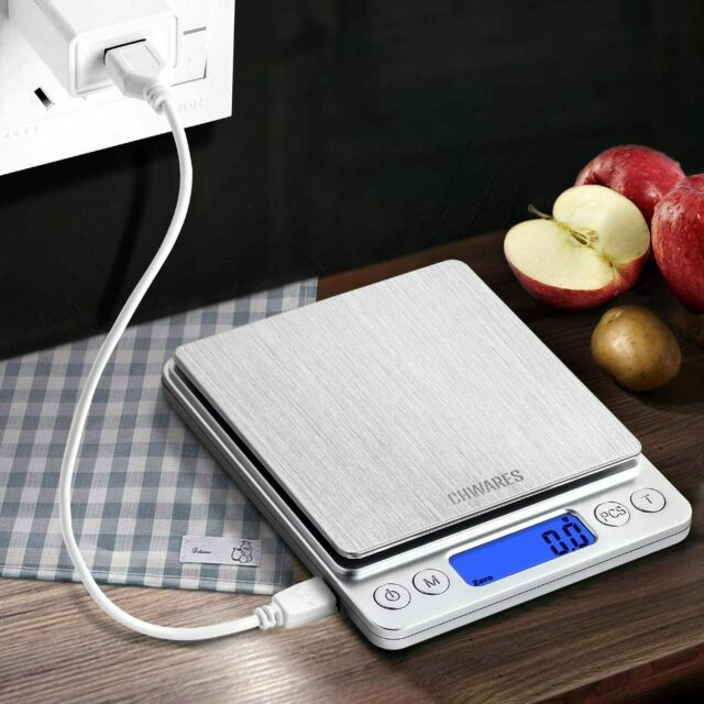 Bilancia digitale da cucina, Alta precisione 0.1 g, Portata 3 kg, Display LCD