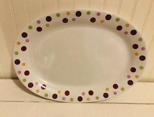 Pampered-Chef-Simple-Additions-Dots-White-Oval-Appetizer-Serving-Plate-Platter