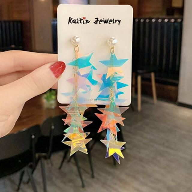 Korean Bling Multi-layer Sequins Star Long Dangle Drop Earrings Rainbow Color