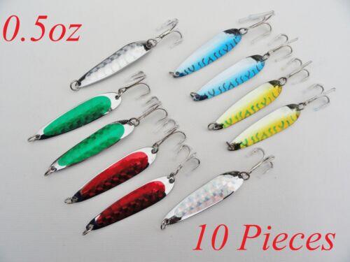 10 pcs 1//2oz Casting Spoons Krocodile Style Trolling Fishing Lures Random Colors