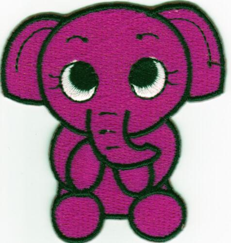 a2u7 Aufnäher Bügelbild Iron on Patches Elefant Baby Zoo süss rubin rot