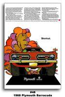 13x19 1968 Plymouth Barracuda Cuda Ad Art Poster 340 383 Brochure Mopar