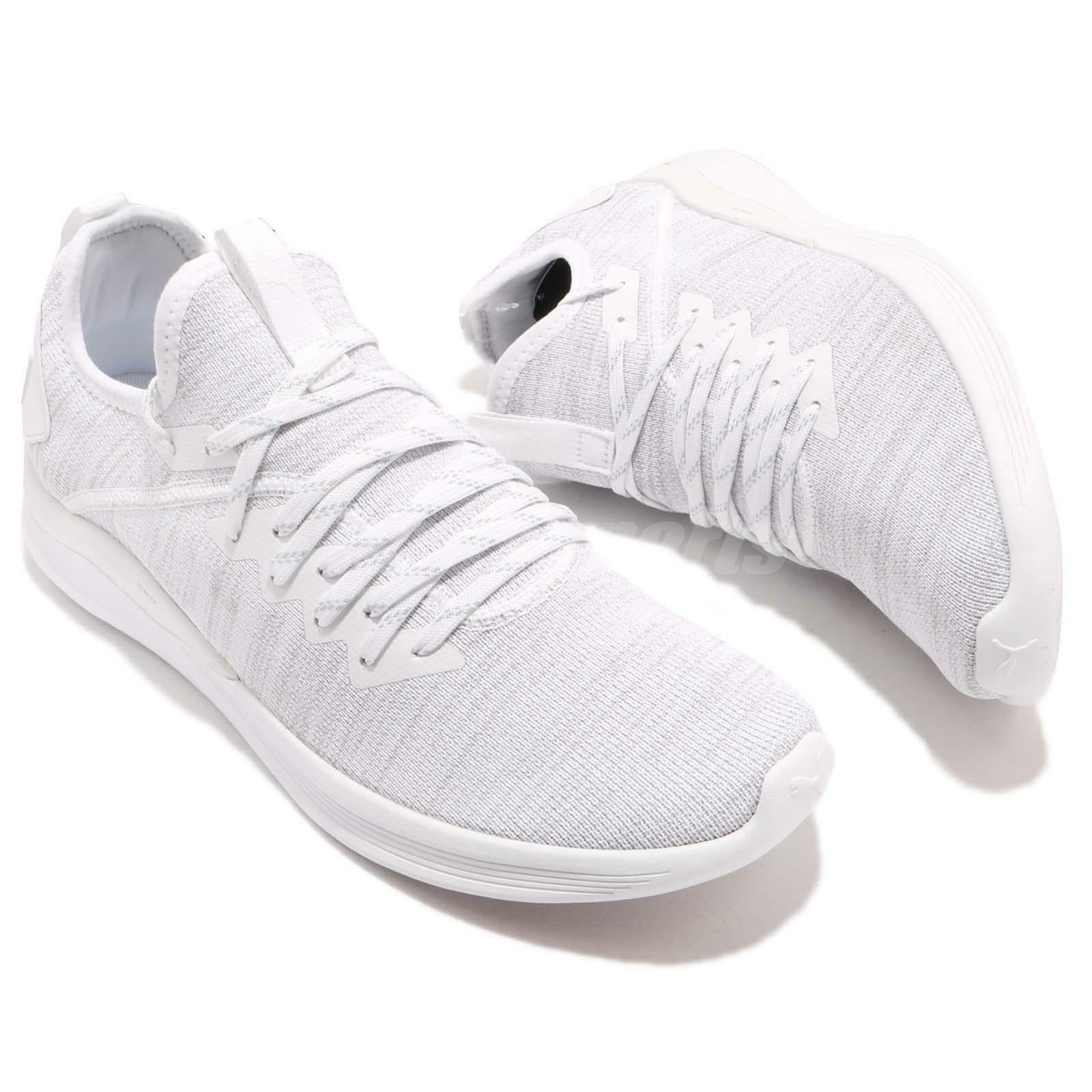 PUMA IGNITE FLASH EvoKnit White Grey 9.5 Cross Training Shoes Trainers 190508-03