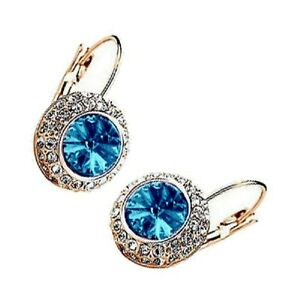 Rose-Gold-Plated-Light-Sapphire-Blue-Evil-Eye-Crystal-Fashion-Leverback-Earrings