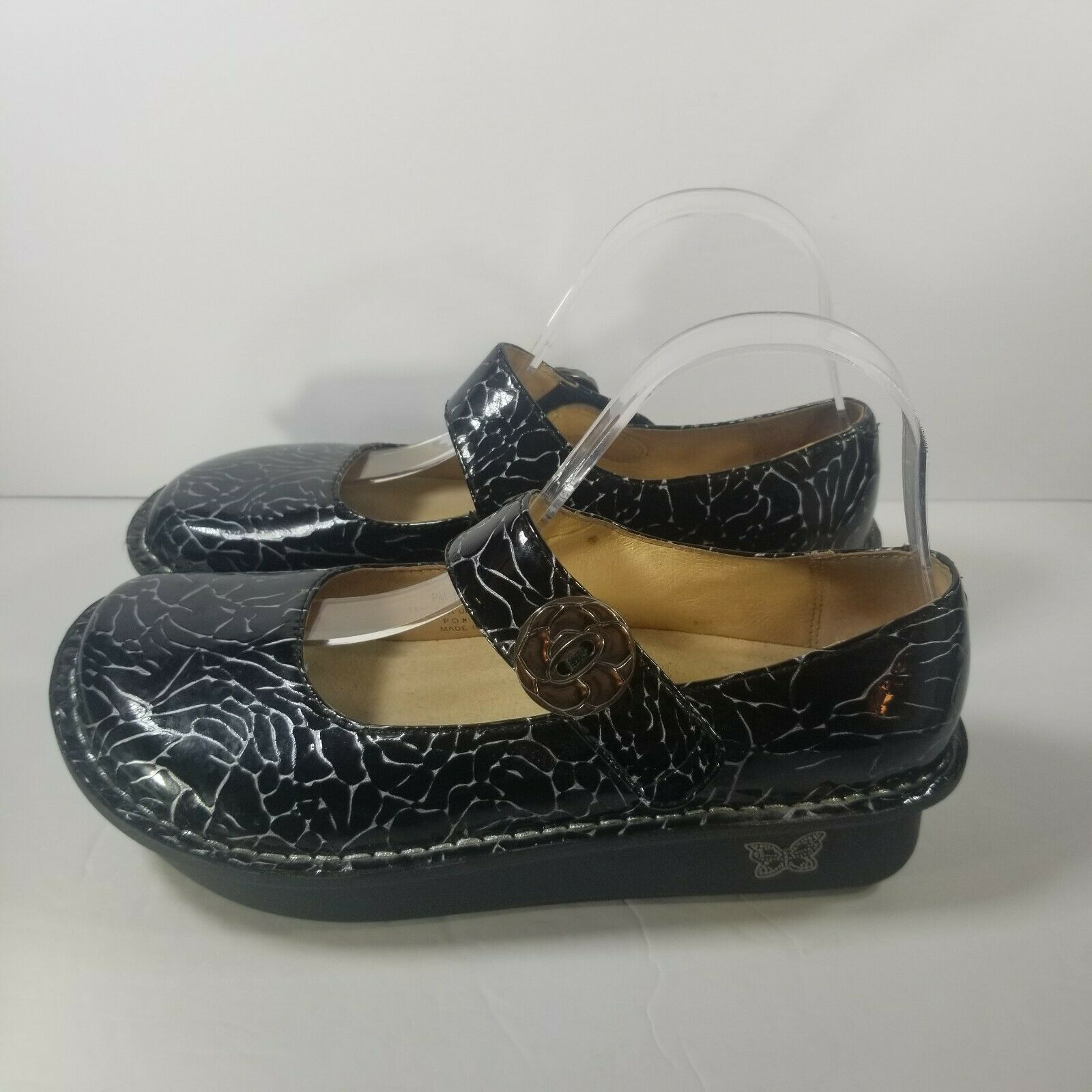 Alegria Womens US 7 EU 37 Black Embossed Rose Mary Jane Shoes PAL-541