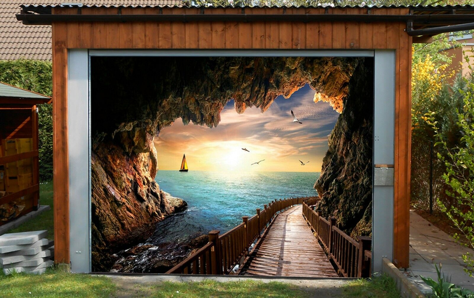 3D Sea, cave 663 Garage Door Murals Wall Print Decal Wall Deco AJ WALLPAPER UK