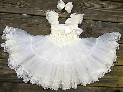ivory  lace petti dress flower girl tea party Birthday extra full dress
