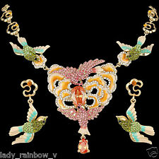 Dual Bird Hummingbird Necklace Earrings Set Zircon Austrian Crystal Multi Enamel