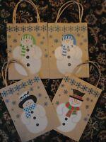12 Brown Paper Snowman Gift Bag Jute Handle 9 X 6.5 X 3-1/4 Holiday Usa