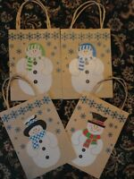 12 Brown Paper Snowman Gift Bag Jute Handle 9 X 6.5 X 3-1/4 Holiday Usa
