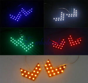 1 Pair 5 Colors LED Arrow Lights 14-smd Car Side Mirror Rear Turn indicator HOT