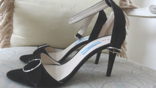 PRADA BLACK SUEDE PUMPS OPEN TOE HEELS SIZE 7.5 OR 37.5