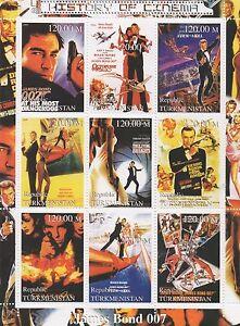 JAMES-BOND-007-HISTORY-OF-CINEMA-TURKMENISTAN-2000-MNH-STAMP-SHEETLET