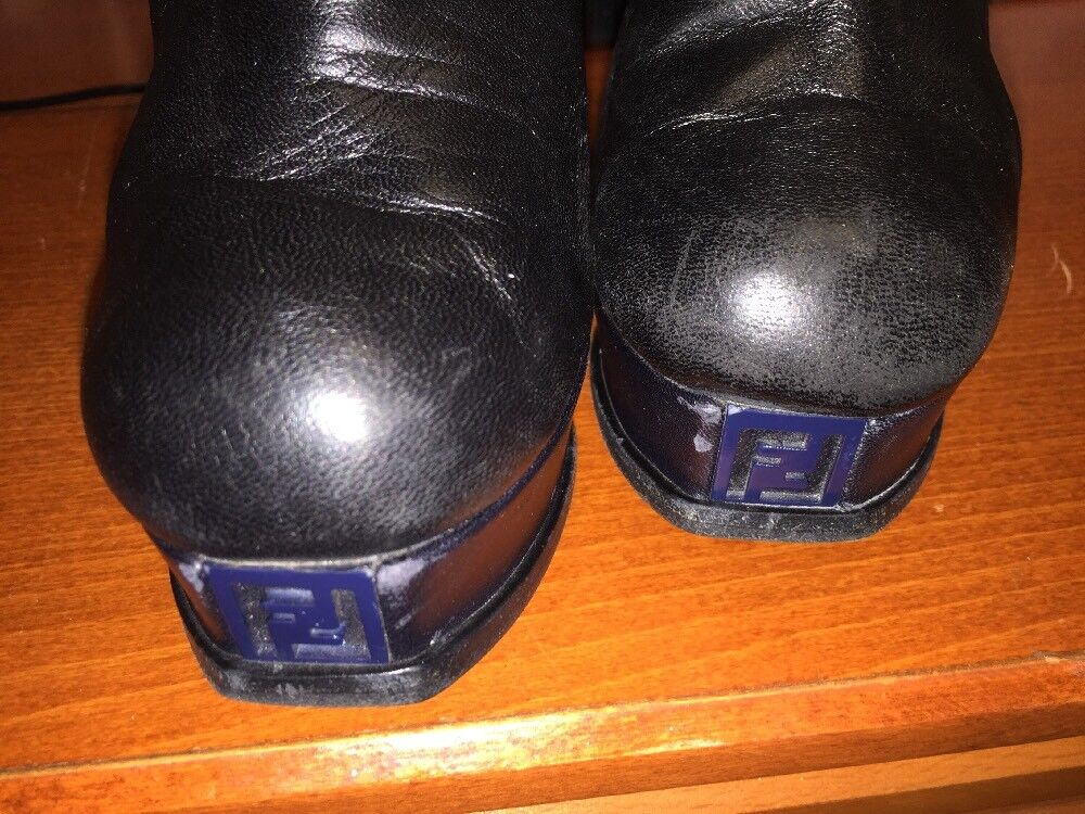 Auth Fendi Black Platforms Stiletto Leather Boots