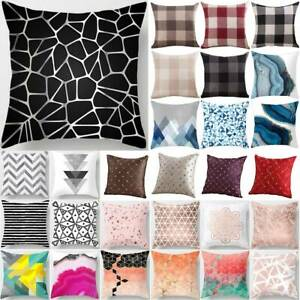 Geometric Black Grey Pink Bench Bedroom Throw Pillow Case Cushion Cover Outdoor
