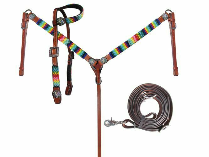 Showman Rolled Leather Beaded Sliding Ear Headstall Breastcollar and Split Reins for sale online